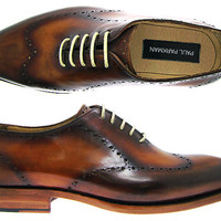 Paul Parkman Men's Brown Hand-Burnished Wingtip Perforated Whole-Cut Leather Upper With Double Leather Sole Oxford Shoes