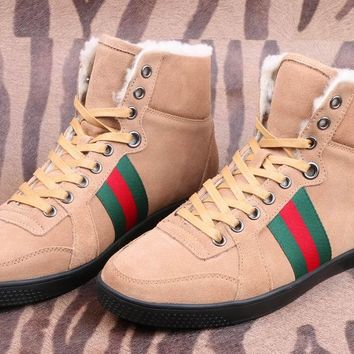 Gucci Men's Suede Leather Fashion Casual High Top Sneakers Shoes