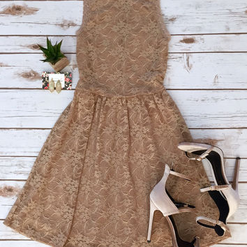 High Neck Fit and Flare Lace in Mocha