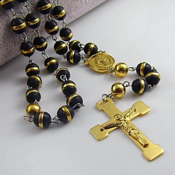 Rosary Cross Pendant Mary Charm Beads Strand Necklace
