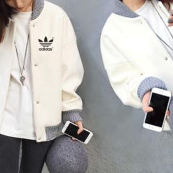 """Adidas"" Women Multicolor Buttons Cardigan Long Sleeve Baseball Clothes Jacket Coat"
