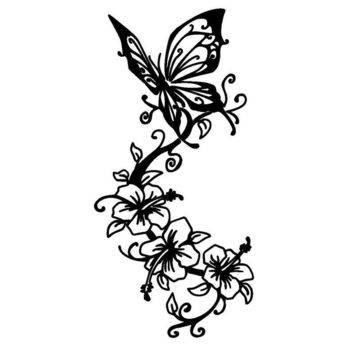 8.8*17.8CM Vinyl Car Sticker Art Butterfly Animal Car Decal Creative Fansy Accessories Black/Silver C9-1631