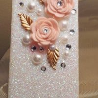 Pearl Flower Glitter iPhone 4 4s Hard Cover Case by kaylafenton