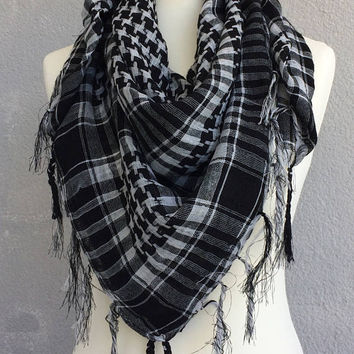 Tartan Cotton Scarf, Checkered Men's Scarf, Houndstooth Scarf, Fringed Shawl, Square Summer Scarf, Tassel Plaid Scarf, Back to School