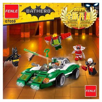 Batman Dark Knight gift Christmas 282pcs New Super Heroes Batman Movie 07059 The Riddler Riddle Racer DIY Model Building Kit Blocks Gifts Toy AT_71_6