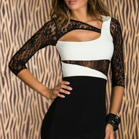 Black and White Floral Sheer Lace Sleeve Cut-Out Bodycon Mini Dress