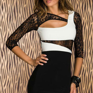 3/4 Lace Sleeves Bodycon Black Dress with White Color Block Detail