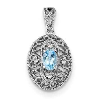Sterling Silver Swiss Blue Topaz And White Topaz Filigree Pendant