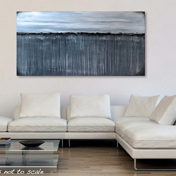 "HUGE 48"" Greyscale Landscape Original Painting - Acrylic Canvas Large Modern Contemporary Wall Art - Wide MASSIVE 48 x 24 - FREE Shipping"