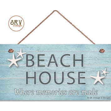 "Beach House Sign With Starfish on Blue Weathered Wood, Weatherproof, 5"" x 10"" Sign, Wall Plaque, Beach House, Ocean, Made To Order"