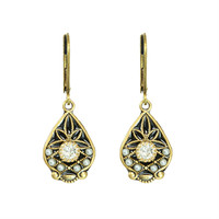 Michal Golan Art Deco Collection Small Teardrop Leverback Earrings