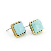 Simple Tiny Gold-tone Square Turquoise Stone Stud EARRINGS
