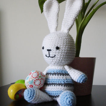 Baby's first toy - Bunny Amigurumi - Crochet toy, Baby shower gift, Childrens toy- Ready to ship