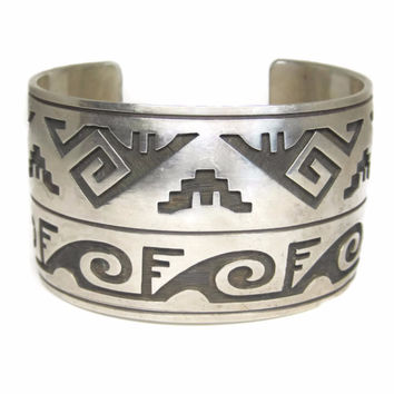 Wide Hopi Sterling Cuff Bracelet 7 Inches