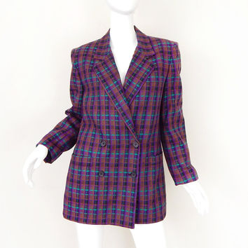 Sz M Vintage 80s Christian Dior Checked Wool Blazer - Violet and Teal
