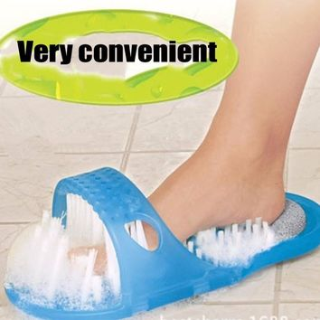 1PCS Bath Shoes Brush Shower Foot Feet Cleaner Scrubber Washer Foot Health Care Household Bathroom Stone Massager Slipper Blue