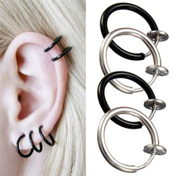 Lackingone Goth Earrings Clip On Fake Nose Hoop Ring Ear Septum Lip Navel Earrings Body Non Piercing Black Jewelry free shipping