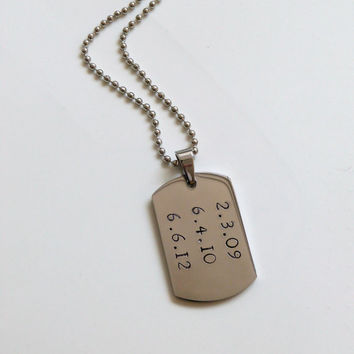 Mens Dog Tag Necklace Mens Jewelry Personalized Mens gift Groomsmen Gift Grooms Gift Dad Fathers Gift