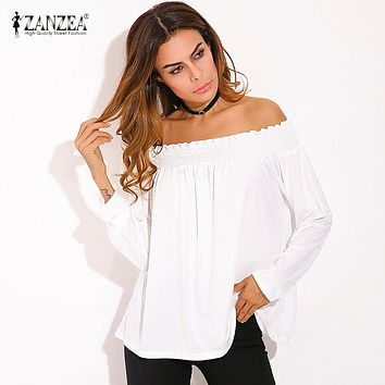 SHIRT Sexy Women Blouses Ladies Solid Shirred Off Shoulder Tops Casual Blouse Shirts
