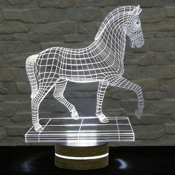 Walking Horse Shape, 3D LED Lamp, Home Decor, Table Lamp, Office Decor, Plexiglass Lamp, Decorative Lamp, Nursery Light, Acrylic Night Light