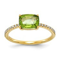 14k Yellow Gold Diamond and Peridot Square Ring
