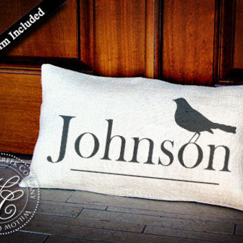 Personalized WEDDING GIFT Burlap Pillow-  Pillow with Last Name &  Bird Silhouette