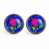beauty and the beast rose earrings