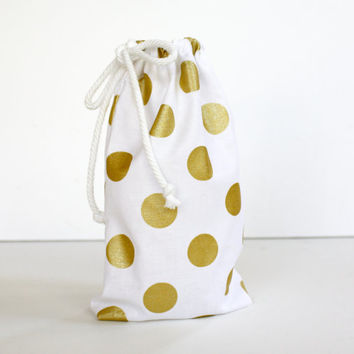 Gold Drawstring Bag , Polka Dot, Metallic, Cotton Pouch, Travel Bag, Organizer, All Purpose Bag