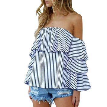 Off Shoulder Blue Striped Slash Neck Tee Tops Flare Sleeves Ruffles