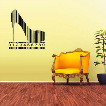 rvz1768 Wall Vinyl Sticker Bedroom Decal Low Shoes Bar Code Barcode