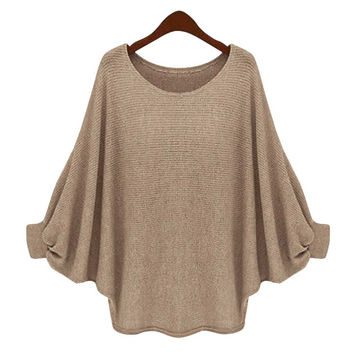 2017 Women Sweater Poncho Cotton Fashion Full Pullovers New Women O-neck Batwing Sleeve Long Loose Pullover Sweater Top Blouse