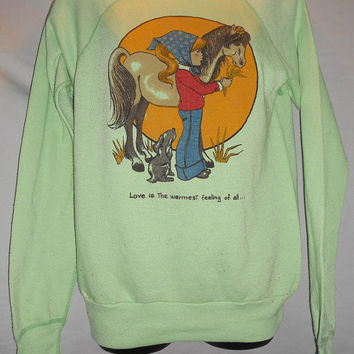 Vintage 80s Mint Green Sweatshirt Girl and Horse Love is the Warmest Feeling of All Kawaii Cute Raglan Small