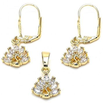 Gold Layered Earring and Pendant Adult Set, Peacock Design, with Cubic Zirconia, Gold Tone
