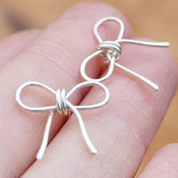 Bow Posts Studs Sterling Silver Wire by Karismabykarajewelry