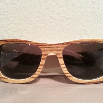 Wood Sunglasses - THE ZEBRAxSKATER Eco-Friendly  Wooden Sunglasses | Hand Made from 5-ply skateboard wood and Zebrawood | Polarized Lenses