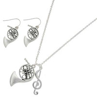 [MSC]-Antique Silver French Horn and Treble Note Necklace Set
