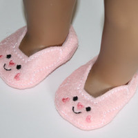 "18"" Doll Shoes Slippers Pink Felt with Bunny rabbit face slipper style shoes fit 18"" Dolls like American Girl and Bitty Baby"
