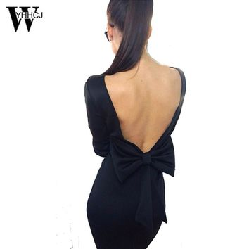WYHHCJ 2017 women dress Sexy Slash Neck Knee-Length Pencil  Party dress Bow backless Casual dresses