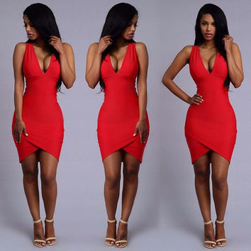 Red Sleeveless Deep Plunge Asymmetrical Bodycon Dress