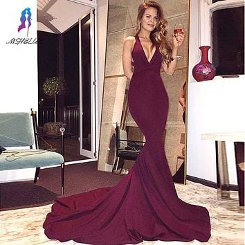 Sexy V-neck  Burgundy Long Mermaid Evening Dresses With Back Criss-Cross Satin Sweep Train Women Prom Party Gowns