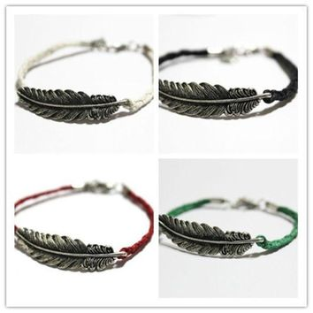 PEAPUG3 Feather bracelet, leaves bracelet, handmade bracelet, Antique Silver Cute Charm friendship Bracelet Personalized Jewelry = 1930331716