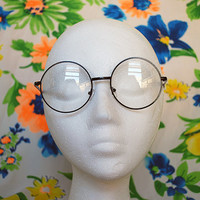 The Lennon | Vintage Oversized Circle Clear Hippie Glasses Retro Clear Round Lennon Glasses