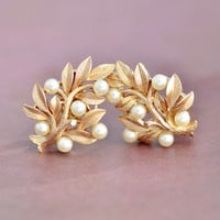 Vintage 1960s Trifari, Gold Tone, Faux Pearl, Leaf Tree Nature, Clip On Non Pierce Earrings, Womens Mid Century Estate Jewelry, Wife Gift