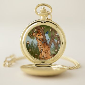 The Serval and the Butterfly Pocket Watch