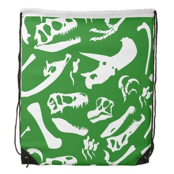 Dinosaur Bones (Green) Drawstring Backpack