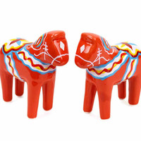 Red Dala Horse Salt and Pepper Shakers