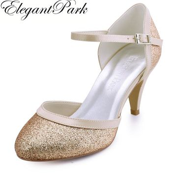 Woman Silver Gold Round Toe Buckle Mid Heel Wedding Bridal Shoes 4d4936887731