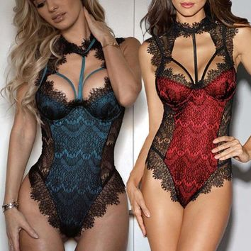 New-Sexy-Lingerie-Sleepwear-Lace-Women-Babydoll-Bodysuit-Nightwear Size S M L XL