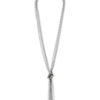 Faux Pearl And Chain Knot Necklace - Pearl