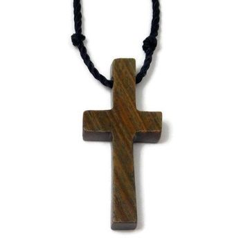 Wooden Cross Necklace made from Lignum Vitae Wood, Unique Baptism Gift or First Communion Gift, 5th Anniversary Gift, Tree of Life